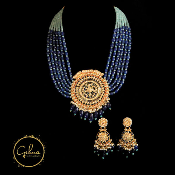 Blue with Kundan polki set