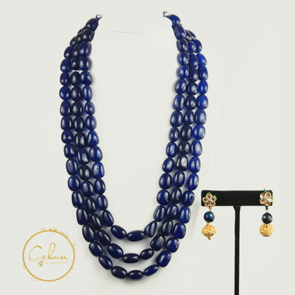 Blue tourmaline mala set