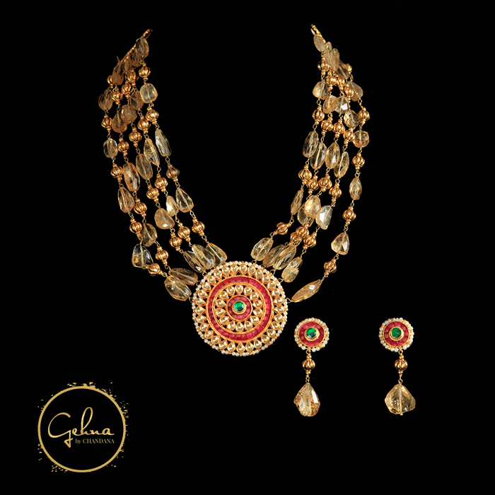Citrine with Kundan polki set