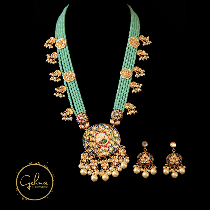 Firoza with Kundan polki set