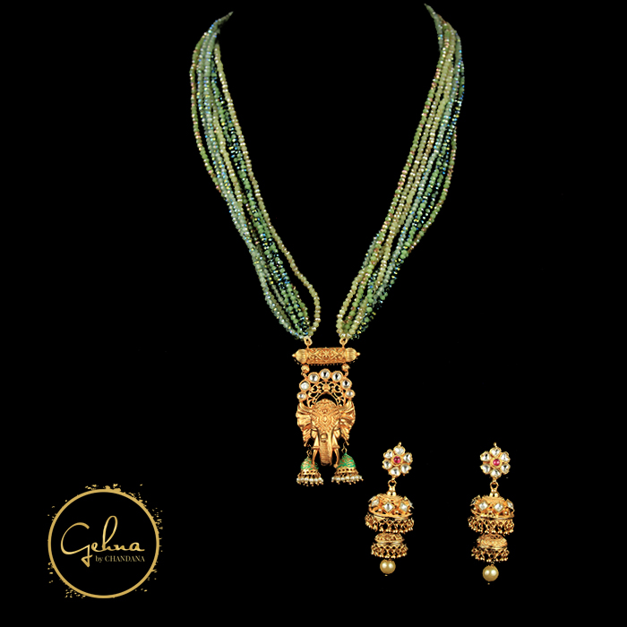 CZ beads w/ temple elephant pendant