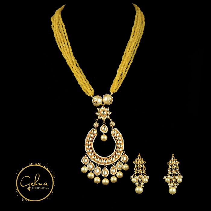 Yellow beads with pendant set