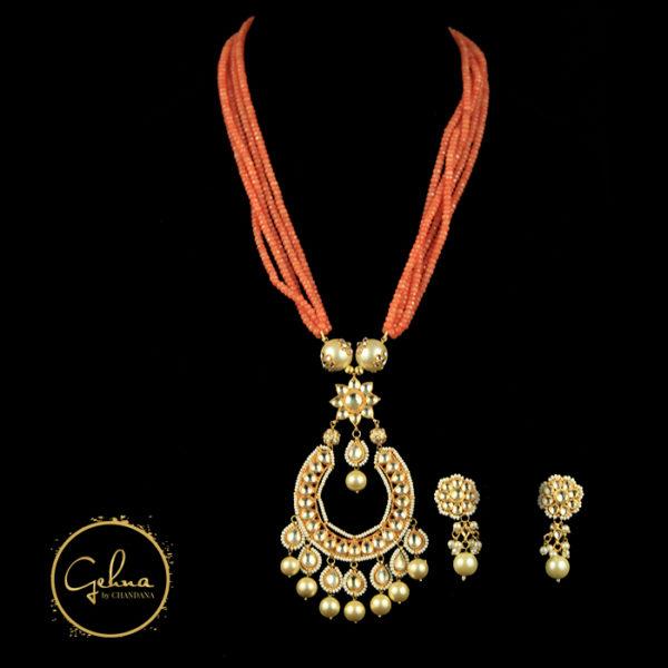 Orange beads with pendant set