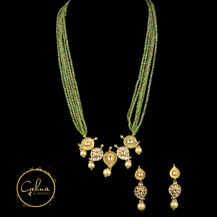 CZ beads with kundan pendant set
