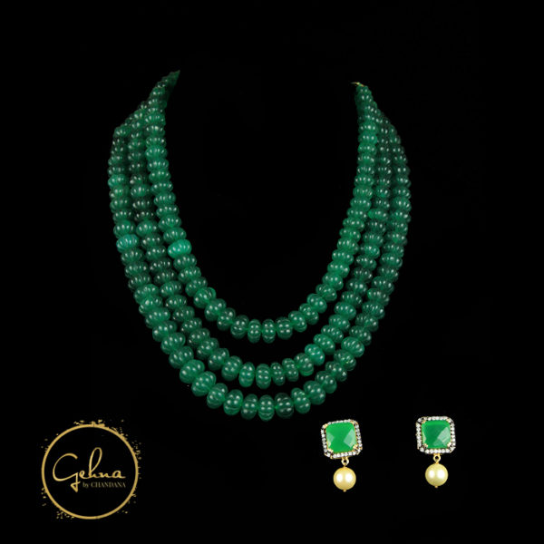 Green Kharbuja beads mala set