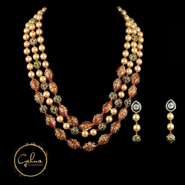 Red Tanjore Tourmaline with pearl mala set