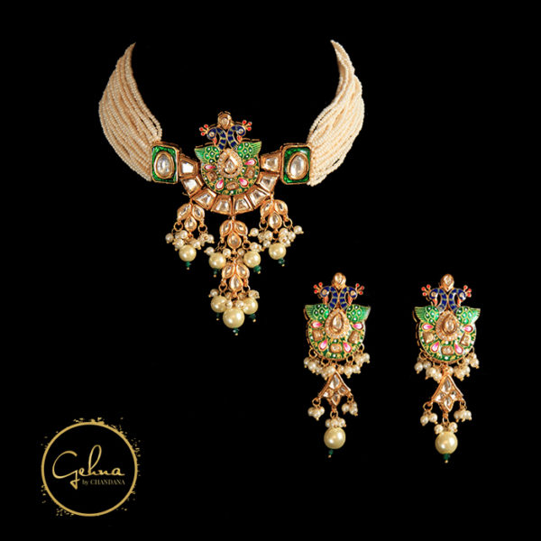 Kundan peacock pendant with seed pearl choker