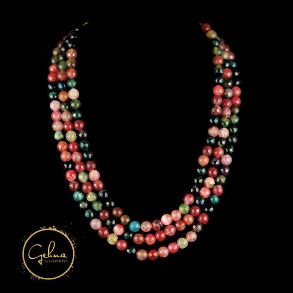 3 lines multi colored jade
