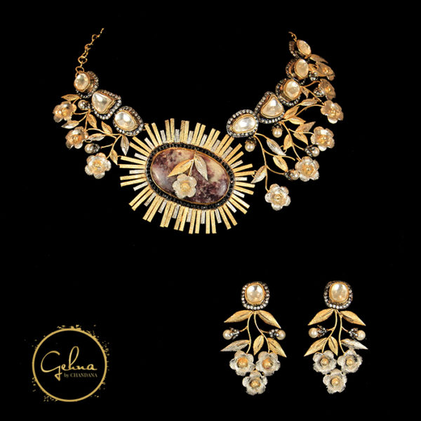 3 tone necklace set with polki
