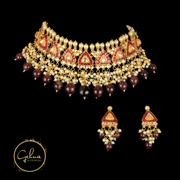 Kundan Necklace set with ruby drops