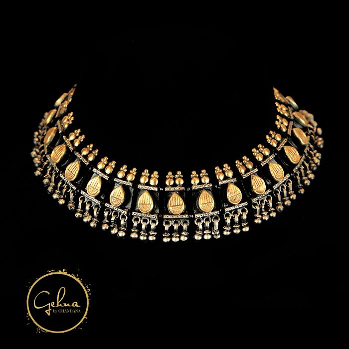 Two tone Silver necklace black tassel