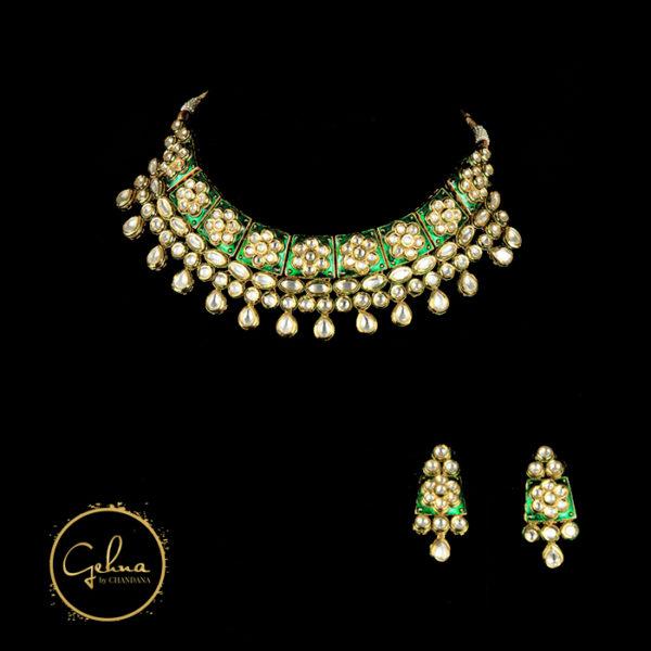 Kundan necklace set on green enamel