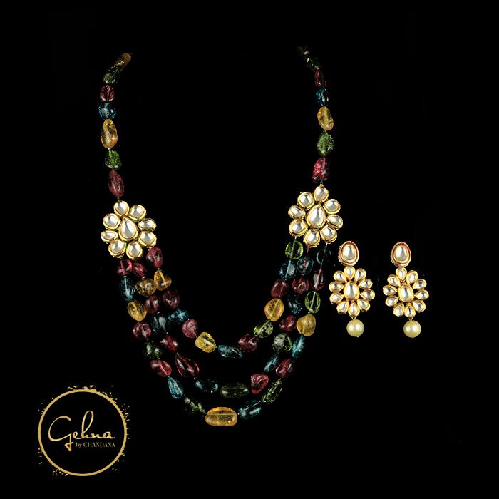 Multi color tumble beads with kundan side pendant