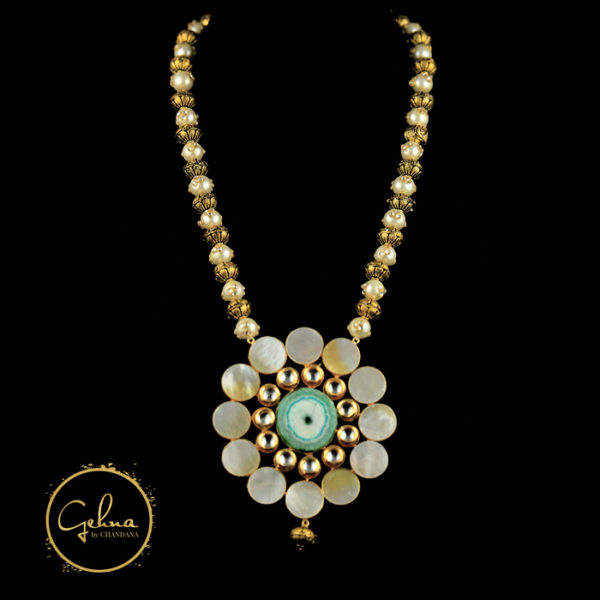 Pearl and golden ball mala with big pendant