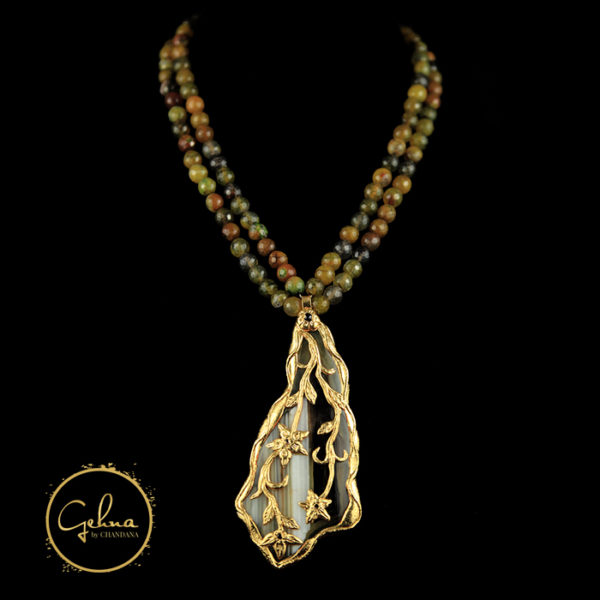 mala with gold engraved pendant