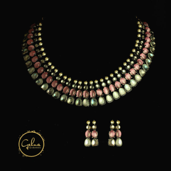 Pink & Polki necklace